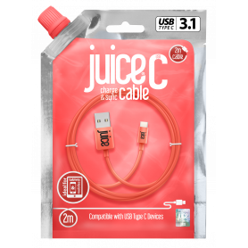 CABLE 2M CHARGE & SYNCHRO USB VERS TYPE-C - CORAIL - JUICE®