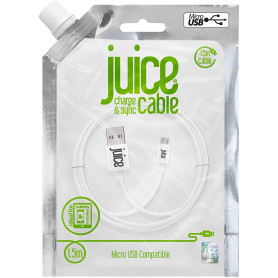 CABLE 1.5M CHARGE & SYNCHRO USB VERS MICRO-USB - BLANC - JUICE®