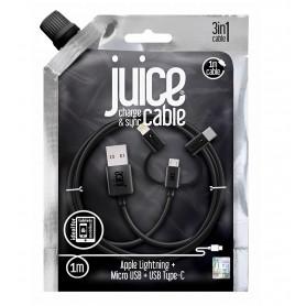 CABLE 1M 3-EN-1 USB VERS MICRO-USB / LIGHTNING / TYPE-C - NOIR - JUICE®