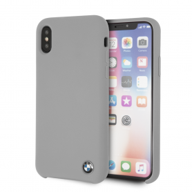 COQUE SILICONE GRISE AVEC SIGLE BMW COMPATIBLE APPLE IPHONE X / XS - BMW®