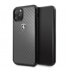 COQUE EN FIBRE DE CARBONE NOIRE COMPATIBLE APPLE IPHONE 11 - FERRARI®