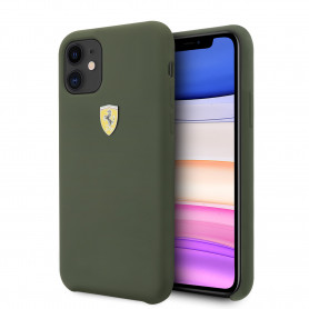 COQUE EN SILICONE VERTE COMPATIBLE APPLE IPHONE 11 - FERRARI®