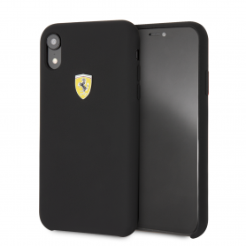 COQUE SILICONE NOIRE COMPATIBLE APPLE IPHONE XR - FERRARI®