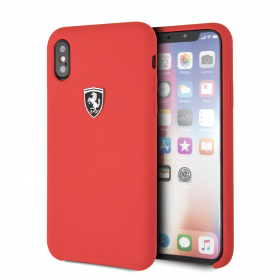 COQUE EN SILICONE ROUGE AVEC SIGLE FERRARI COMPATIBLE APPLE IPHONE X / XS - FERRARI®
