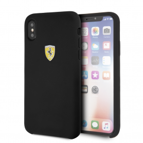 COQUE SILICONE NOIRE COMPATIBLE APPLE IPHONE X / XS - FERRARI®