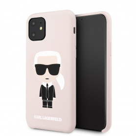 COQUE SILICONE ROSE SABLE MOTIF KARL LAGERFELD POUR APPLE IPHONE 11 - KARL®