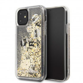 COQUE TRANSPARENTE AVEC PAILLETTES FLOTTANTES NOIR ET OR COMPATIBLE APPLE IPHONE 11 - KARL®