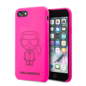 COQUE SILICONE ROSE FLUO AVEC AVATAR KARL LAGERFELD COMPATIBLE APPLE IPHONE 7 / 8 - KARL®