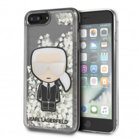 COQUE BI-MATIERE MOTIF KARL LAGERFLED AVEC PAILLETTES COMPATIBLE APPLE IPHONE 7+ / 8+ - KARL®