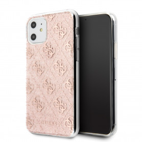 COQUE BI-MATIERE AVEC PAILLETTES ROSES ET LOGOS GUESS COMPATIBLE APPLE IPHONE 11 - GUESS®