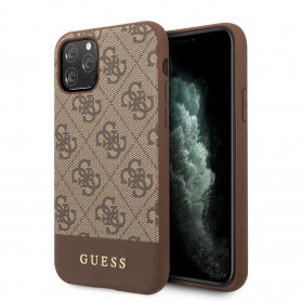 COQUE BI-MATIERE MARRON AVEC LOGO GUESS COMPATIBLE APPLE IPHONE 11 PRO - GUESS®