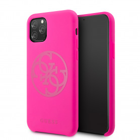 COQUE SILICONE ROSE FLUO AVEC LOGO GUESS COMPATIBLE APPLE IPHONE 11 PRO - GUESS®