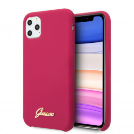 COQUE SILICONE ROSE AVEC LOGO DORÉ GUESS COMPATIBLE APPLE IPHONE 11 PRO - GUESS®
