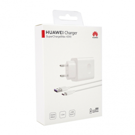 CHARGEUR SECTEUR USB + CABLE USB VERS TYPE-C SUPERCHARGE 40W ORIGINE HUAWEI