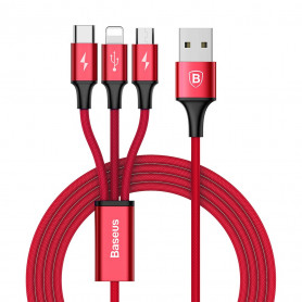 CABLE 3-EN-1 USB VERS MICRO-USB / TYPE-C / LIGHTNING ROUGE - BASEUS
