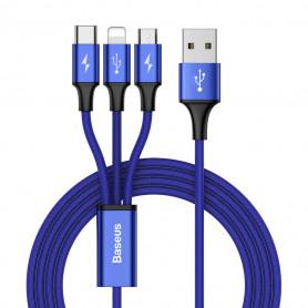 CABLE 3-EN-1 USB VERS MICRO-USB / TYPE-C / LIGHTNING BLEU - BASEUS