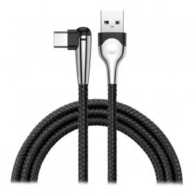 CABLE TRESSÉ USB VERS TYPE-C COUDÉ NOIR 2M - BASEUS