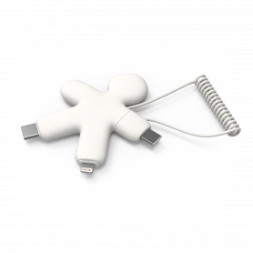 CABLE 3-EN-1 USB-A / USB-C BUDDY CABLE VERS TYPE-C / LIGHTNING BLANC - XOOPAR