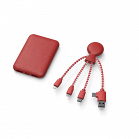 PACK BIO BATTERIE 5 000mAh + CABLE 5-EN-1 USB / TYPE-C  / MICRO-USB / LIGHTNING ROUGE - XOOPAR