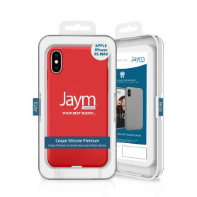 COQUE PREMIUM SILICONE ET MICROFIBRE POUR APPLE IPHONE XS MAX ROUGE - JAYM® CLASSIC®