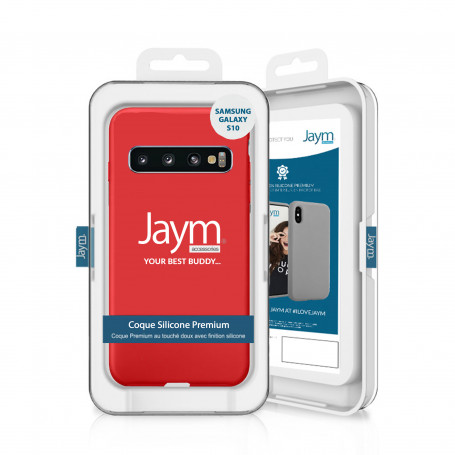 COQUE PREMIUM SILICONE ET MICROFIBRE POUR SAMSUNG S10 ROUGE - JAYM® CLASSIC®