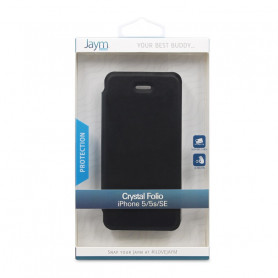 ETUI CRYSTAL FOLIO NOIR JAYM COMPATIBLE APPLE IPHONE 5 / 5S / SE