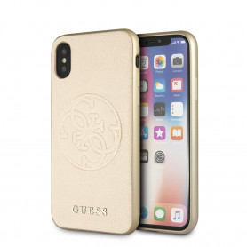 COQUE BI-MATIERE REVÊTEMENT CUIR COULEUR OR  ET LOGO GUESS COMPATIBLE APPLE IPHONE X / XS - GUESS®