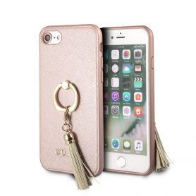 COQUE BI-MATIERE OR ROSE ET ANNEAU STAND OR AVEC LOGO GUESS COMPATIBLE APPLE IPHONE 6 / 6S / 7 / 8 / SE 2020 - GUESS®