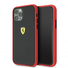 COQUE BI-MATIERE AVEC DOS FUME ROUGE FERRARI COMPATIBLE APPLE IPHONE 11 PRO - FERRARI®