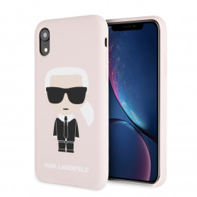 COQUE SILICONE ROSE SABLE MOTIF KARL LAGERFELD POUR APPLE IPHONE XR - KARL®