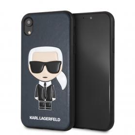 COQUE SIMILI CUIR BLEUE MOTIF AVATAR KARL LAGERFELD COMPATIBLE APPLE IPHONE XR - KARL®