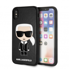 COQUE SIMILI CUIR NOIR MOTIF AVATAR KARL LAGERFELD COMPATIBLE APPLE IPHONE X / XS - KARL®