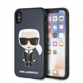 COQUE SIMILI CUIR BLEUE MOTIF AVATAR KARL LAGERFELD COMPATIBLE APPLE IPHONE X / XS - KARL®