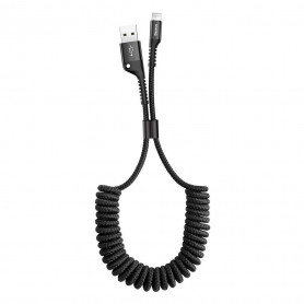 CABLE FLEXIBLE À SPIRALE FISH EYE USB VERS LIGHTNING NOIR 1M - BASEUS