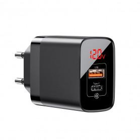 CHARGEUR SECTEUR 1 USB-C PD + 1 USB-A 18W NOIR À AFFICHAGE NUMÉRIQUE - BASEUS