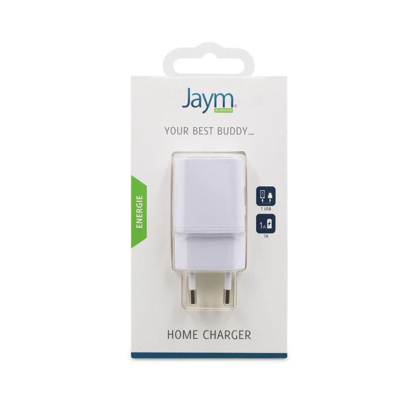 CHARGEUR SECTEUR 1 USB 1A BLANC JAYM