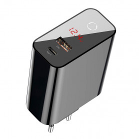CHARGEUR SECTEUR 1 USB-C PD + 1 USB-A QUICK CHARGE 45W NOIR À AFFICHAGE NUMÉRIQUE - BASEUS