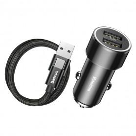 PACK CHARGEUR VOITURE 2 x USB + CABLE USB TYPE-C NOIRS - BASEUS