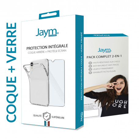 PACK INTEGRAL COQUE SOUPLE + VERRE TREMPE 9H 2.5D POUR APPLE IPHONE 7 / 8 / SE 2020 - JAYM®