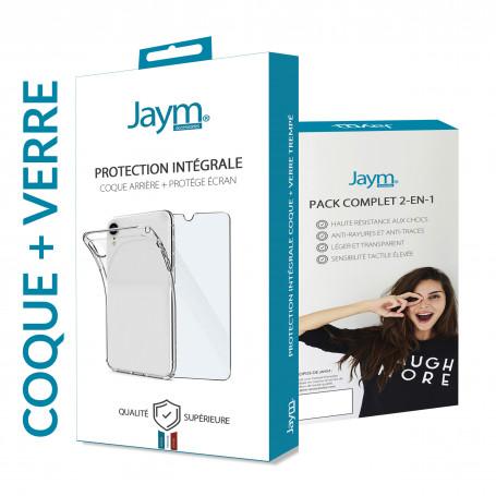 PACK INTEGRAL COQUE SOUPLE + VERRE TREMPE 9H 2.5D POUR APPLE IPHONE X / XS - JAYM®