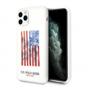 COQUE SILICONE BLANC AVEC DRAPEAU USA ET MINI LOGO COMPATIBLE APPLE IPHONE 11 PRO - U.S POLO ASSN®