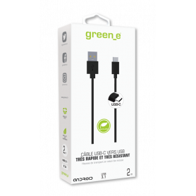 CABLE 1M USB 3.1 CHARGE & SYNCHRO TYPE-C ULTRA RAPIDE (5GB/s) NOIR GREEN-E **