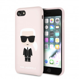 COQUE SILICONE ROSE SABLE MOTIF KARL LAGERFELD COMPATIBLE APPLE IPHONE 7 / 8 / SE 2020 - KARL®
