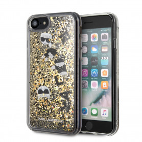 COQUE TRANSPARENTE AVEC PAILLETTES FLOTTANTES NOIR ET OR COMPATIBLE APPLE IPHONE 7 / 8 / SE 2020 - KARL®