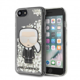 COQUE BI-MATIERE MOTIF KARL LAGERFLED AVEC PAILLETTES COMPATIBLE APPLE IPHONE 7 / 8 / SE 2020 - KARL®