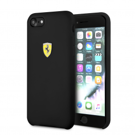 COQUE SILICONE NOIRE COMPATIBLE APPLE IPHONE 7 / 8 / SE 2020 - FERRARI®