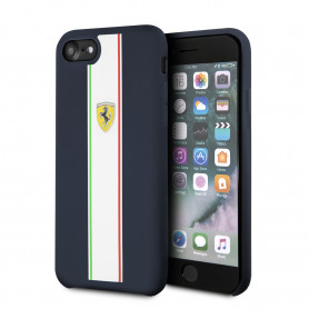 COQUE SILICONE BLEUE AVEC BANDES COLORÉES COMPATIBLE APPLE IPHONE 7 / 8 / SE 2020 - FERRARI®