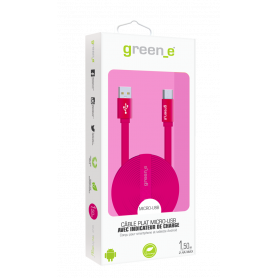 CABLE 1,5M CHARGE & SYNCHRO MICRO-USB LED INTELLIGENT ROSE GREEN-E