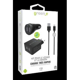 KIT INTELLIGENT & RAPIDE : CHARGEUR SECTEUR 2 USB + VOITURE 2 USB + CABLE USB-C NOIR GREEN-E