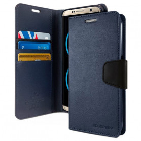 ETUI FOLIO STAND SONATA DIARY COMPATIBLE APPLE IPHONE 12 / 12 PRO (6.1) BLEU